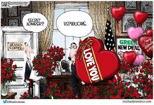 ocasio cortez green new deal republicans sending valentines flowers