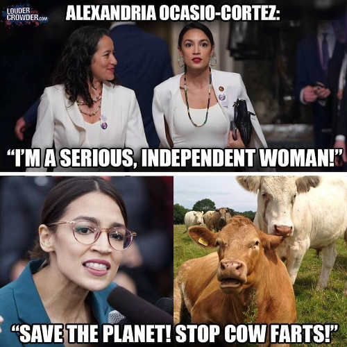 ocasio cortez im serious women save the planet by stopping cow farts