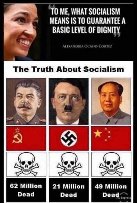 ocasio cortez truth of socialism stalin mao hitler killed millions