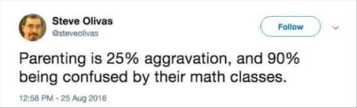 parenting is 25 aggravation 90 percent confused by math classes