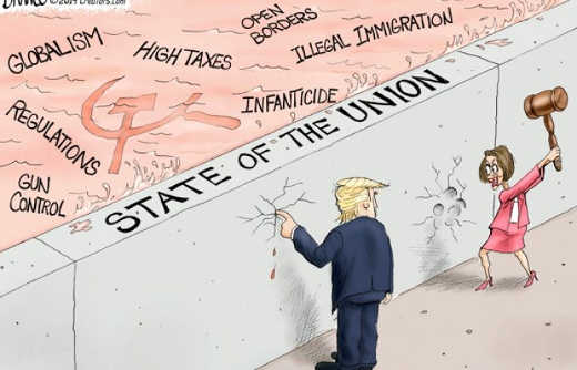 trump state of union wall high taxes communism open borders pelosi destroying