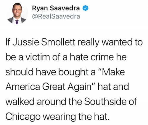 tweet if smollett really wanted to be hate crime victim should have wore maga hat