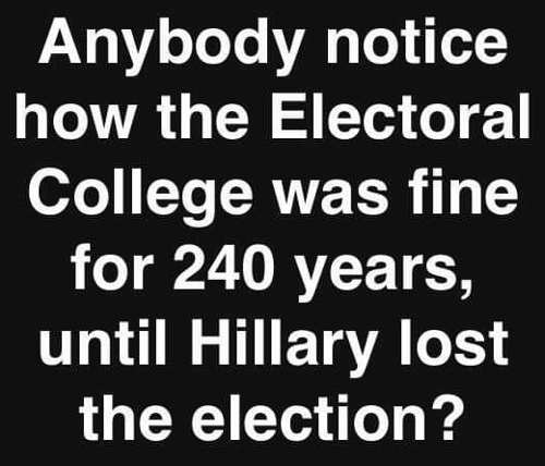 anybody notice electoral college wasnt problem for 240 years until hillary lost