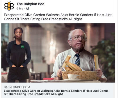 babylon bee exasperated olive garden bernie sanders wont stop eating free breaksticks