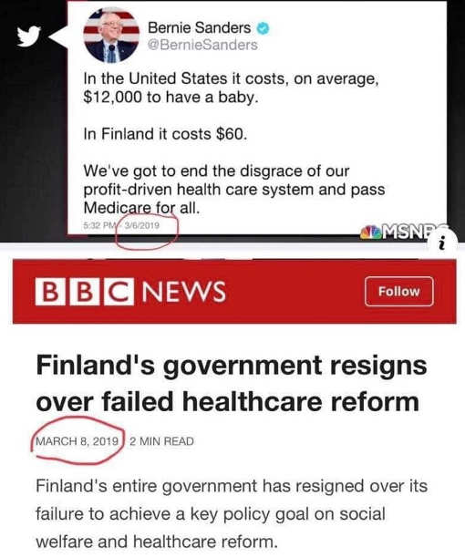 bernie tweet cost of finland health care government collapses