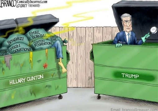 bob mueller dumpster diving for trump dirt hillary ton of evidence