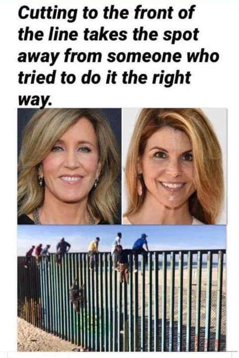 cutting to front of line takes spot away from someone tried to do right way school scandal illegal aliens