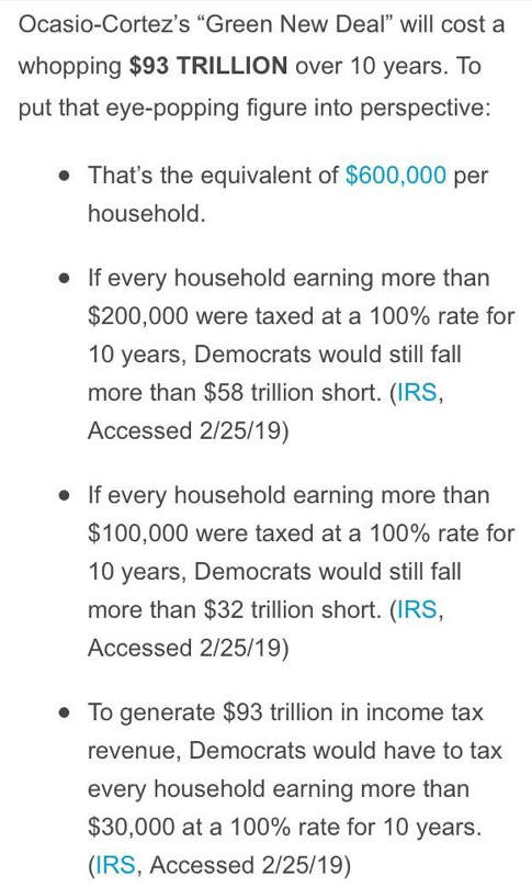 green new deal 93 trillion or 600000 per household couldnt raise taxing every income level
