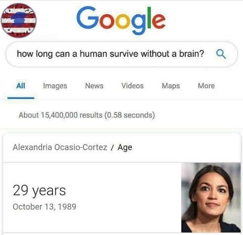 how long human can survive without brain google ocasio cortez