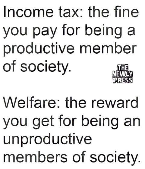 income tax fine for being productive welfare reward for being unproductive