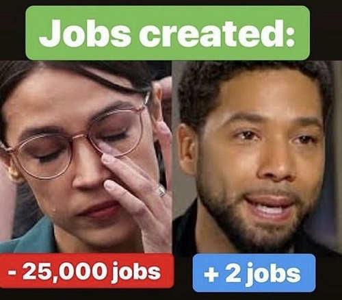 jobs created smollett +2 ocasio cortez -25000