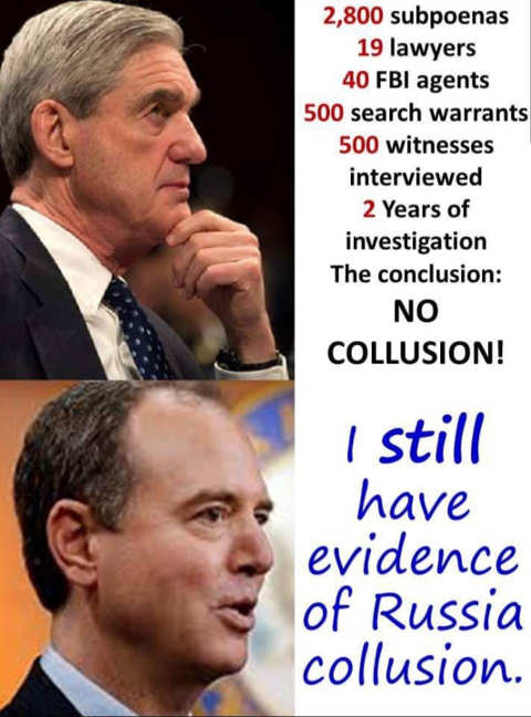 mueller report subpoenas search warrants witnesses schiff i still have evidence collusion