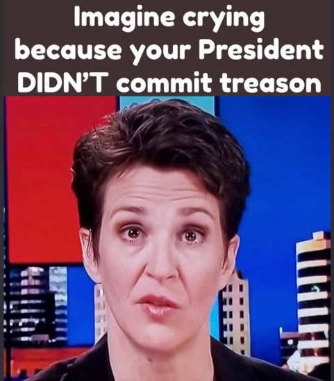 rachel maddow imagine crying because your president didnt commit treason