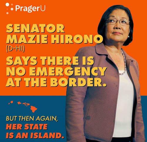 senator mazie hirono no emergency border crisis her state is hawaii