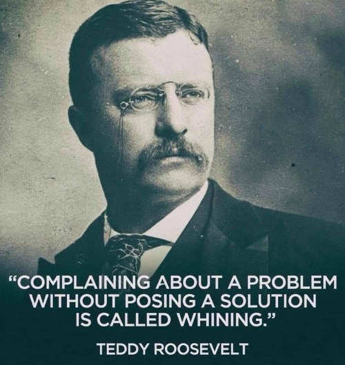 teddy roosevelt complaining without solution is whining