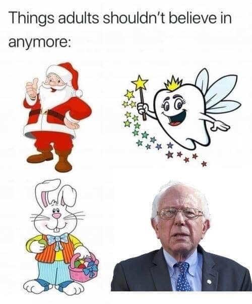 things adults shouldnt believe in easter bunny santa claus bernie sanders