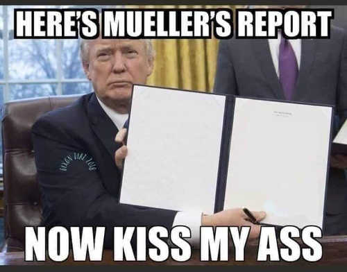 trump heres mueller report now kiss my ass blank pages