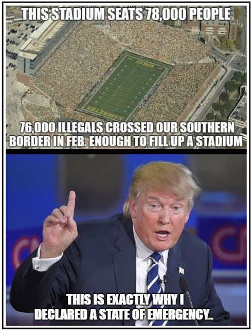 trump stadium seats 78000 people thats who came across border in february see national emergency