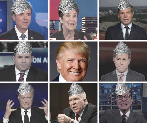 trump with tin foil brigade hate colbert comey odonnell schiff maddow