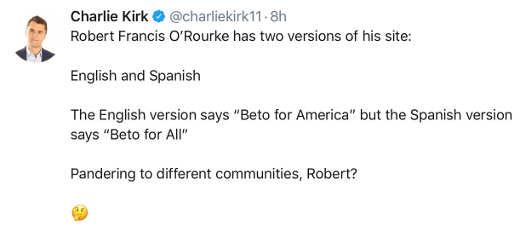 tweet charlie kirk beto for america for all website