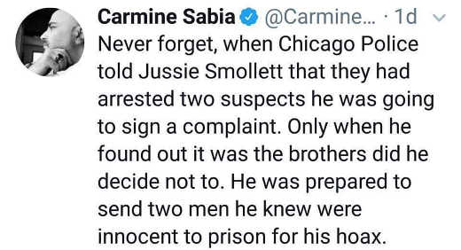 tweet jussie smollett was going to send two innocent men to prison until found out brothers arrested