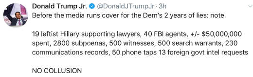 tweet trump jr number of subphoenas agents etc