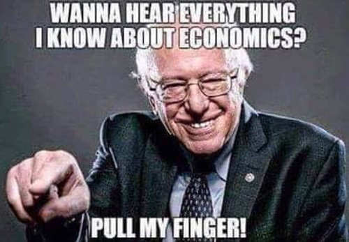 bernie sanders wanny hear everything i know about economics pull my finger