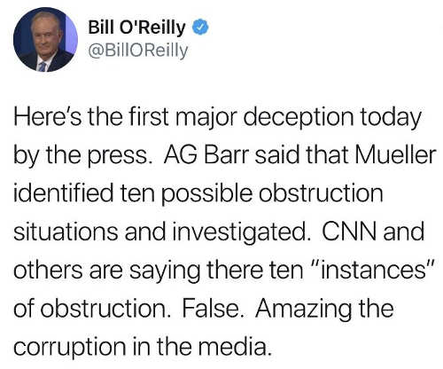 bill oreilly cnn lying about mueller instances of obstruction