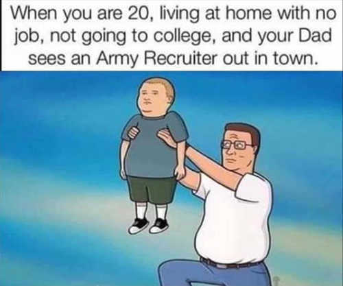 dad offering son 20 living at home to army recruiter