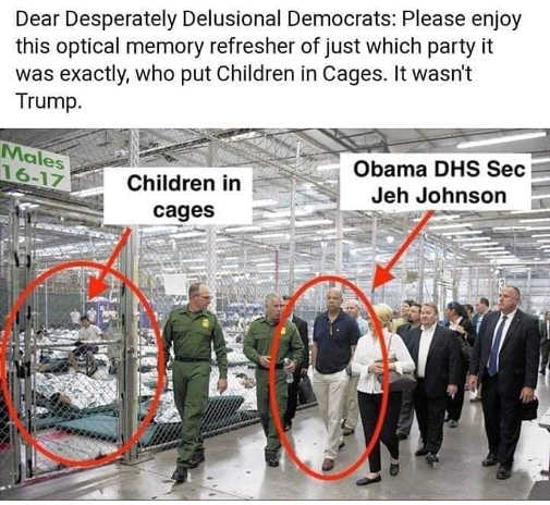 delusional democrats see picture obama dhs secretary observing kids in cages