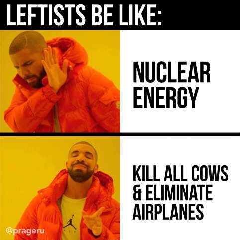 leftists nuclear energy no kill cows eliminate airplanes