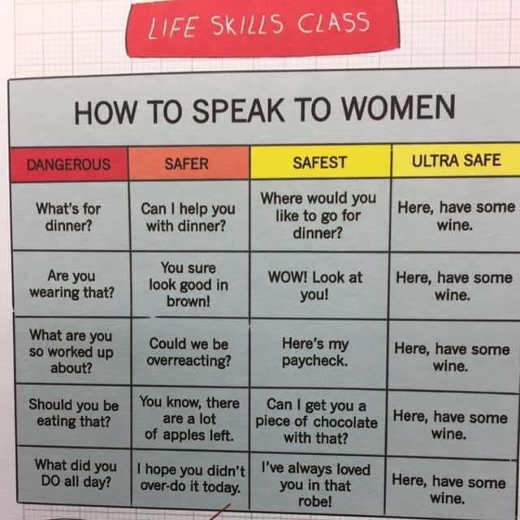 life skills class how to speak to women here have some wine chart
