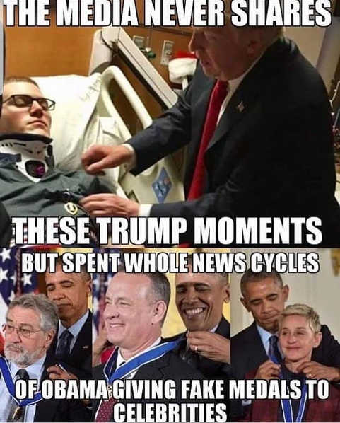 media never shares moments trump with soldiers entire news cycles obama giving celebrities medals