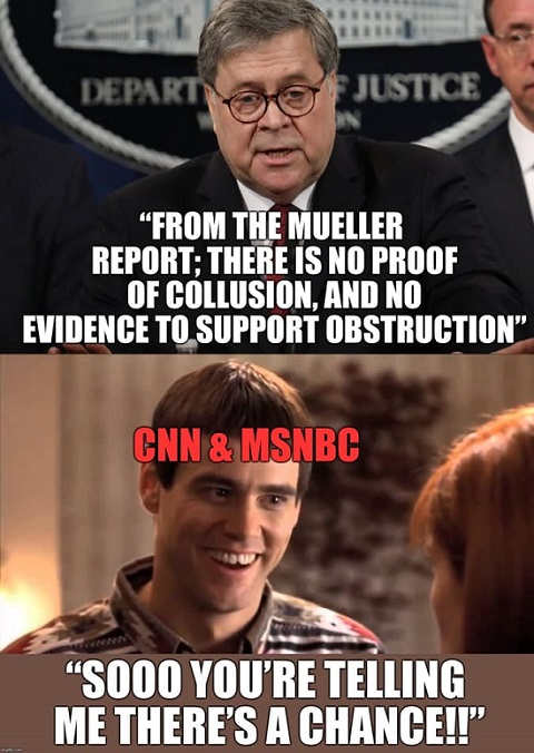 mueller report barr no evidence of collusion or obstruction cnn msnbc so you're telling me theres a chance