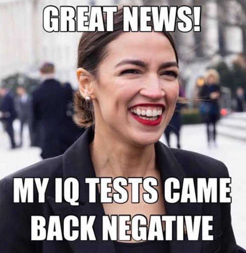 ocasio cortez iq tests came back negative