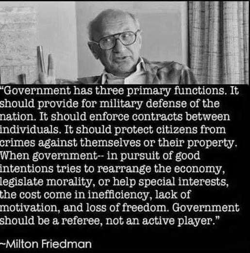 quote milton friedman government has three primary functions defense enforcement protection