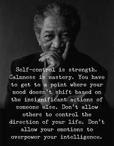 self control is strength dont let others control direction of your life or allow emotions to overpower intelligence