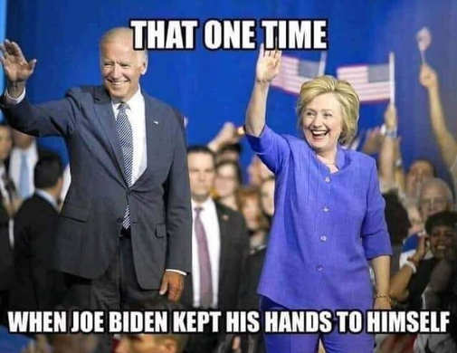 that one time joe biden kept hands to himself hillary clinton