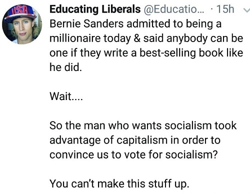 tweet bernie sanders took advantage of capitalism to convince us to vote for socialism