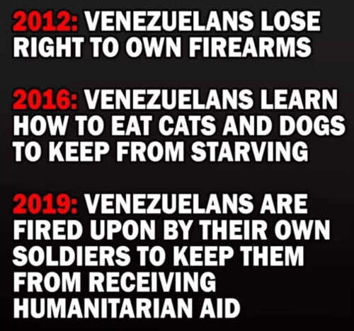 venezuela lose arms eat cats dogs fired upon to stop from receiving aid