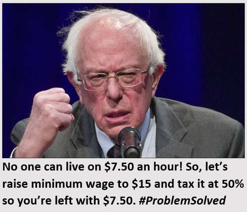 bernie sanders no one can live on 7.50 per hour so raise to 15 and tax 50% so left problem solved