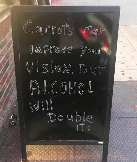 carrots improve vision but alcohol will double it
