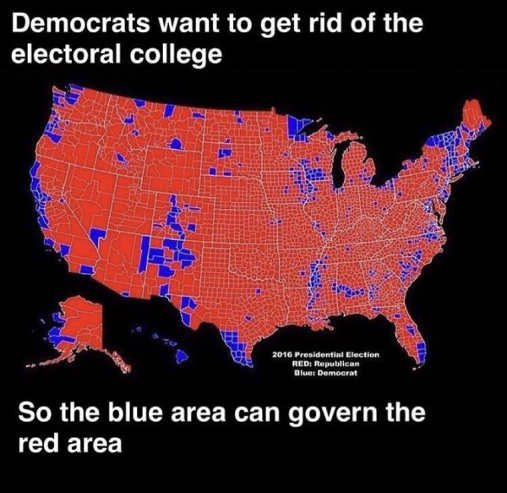 democrats want to get rid of electoral college so blue area can govern red area map