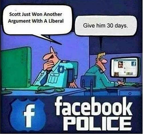facebook police just won argument with liberal give him 30 days