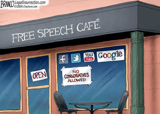 free speech cafe youtube facebook google twitter no conservatives allowed