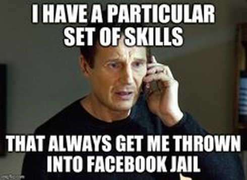 i have a particular set of skills that always get me thrown into facebook jail