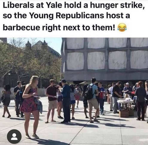 liberals at yale hold hunger strike so young republicans host barbeque right next to them