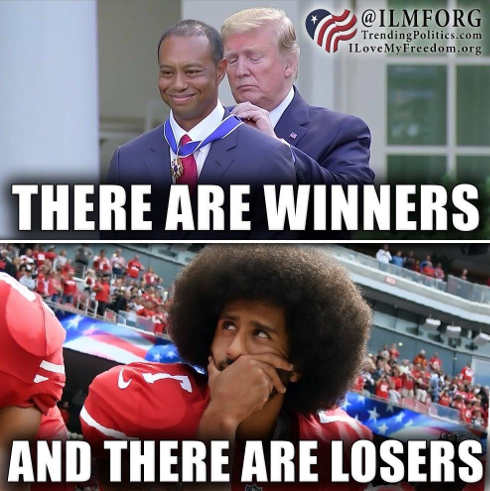 there are winners trump tiger woods and losers colin kaepernick