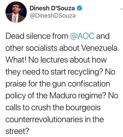 tweet dsouza dead silence from aoc and other socialists on venezuela