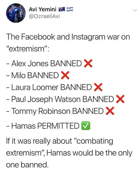 tweet facebook instagram jones milo loomer robinson banned hamas permitted